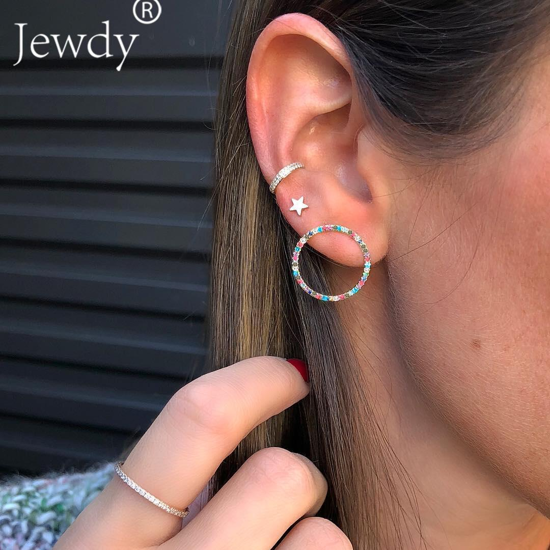 436035d38e61d 3PCS Multicolored Crystal Circle Bohemian Stud Earring Set Boho Star  Earrings for Women Jewelry 2018 Brincos Femme Ear Cuff