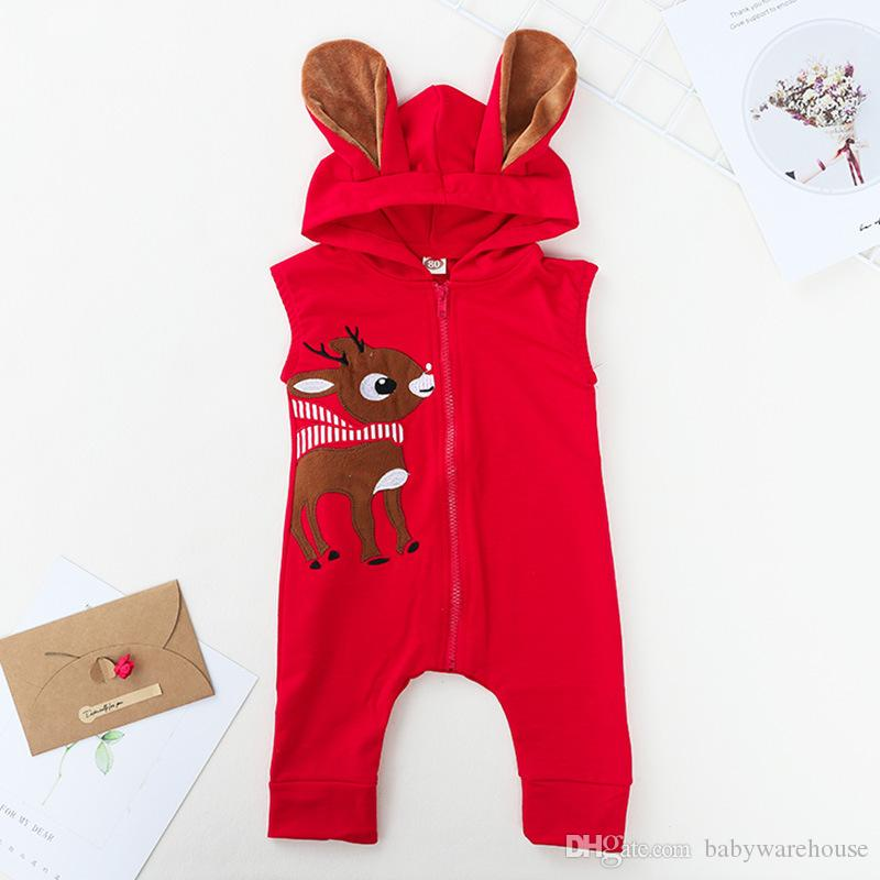 0468259c6eb1 2019 Kids Christmas Clothing Baby Toddler Girl Boy Clothes Zipper  Sleeveless Deer 3D Ear Hooded Romper Jumpsuit Playsuit Outfit 2018 Xmas  Costume From ...