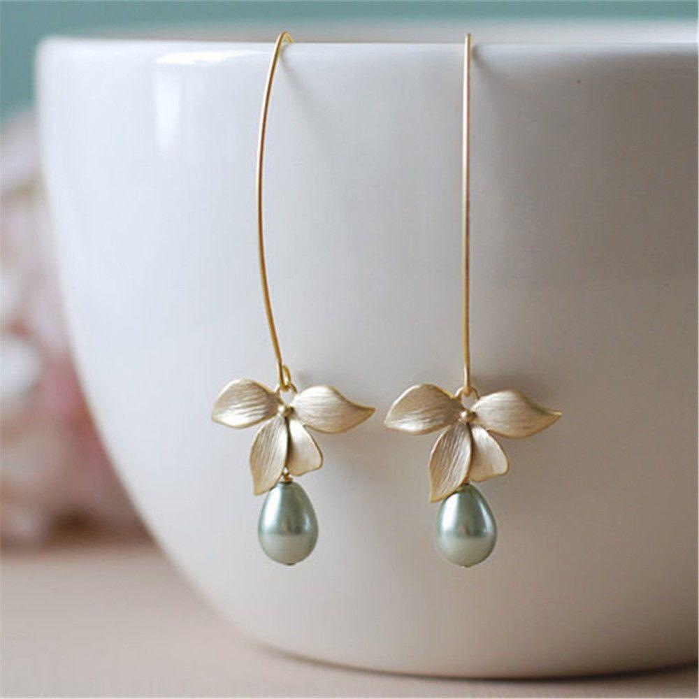 Acheter E Fleur Orchidee Imitation Vert Perle Crochet Crochet