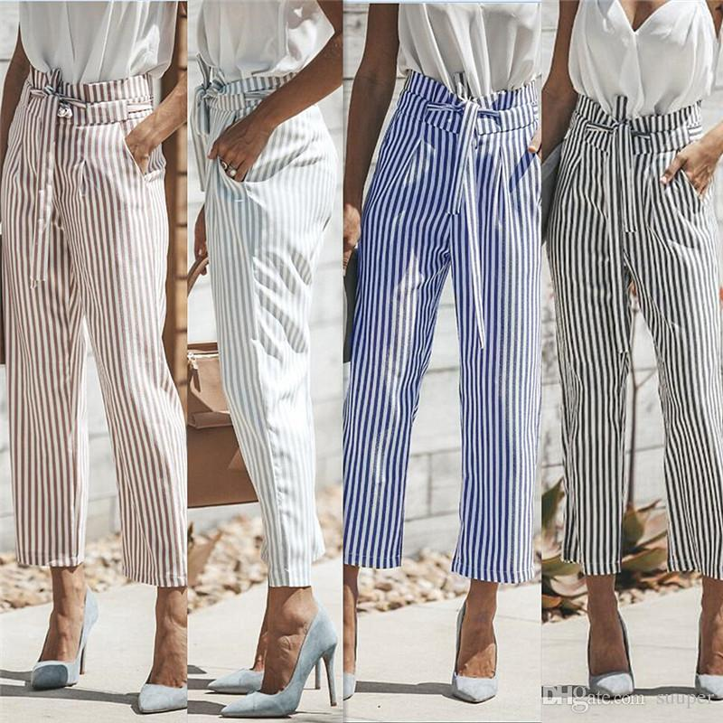 af460f7cd1a 2019 Wholesale OL Striped Straight Pants Women 2018 Summer High Waist Bow Sash  Pants With Pocket Office Lady Streetwear Blue Black Long Pants From Suuper
