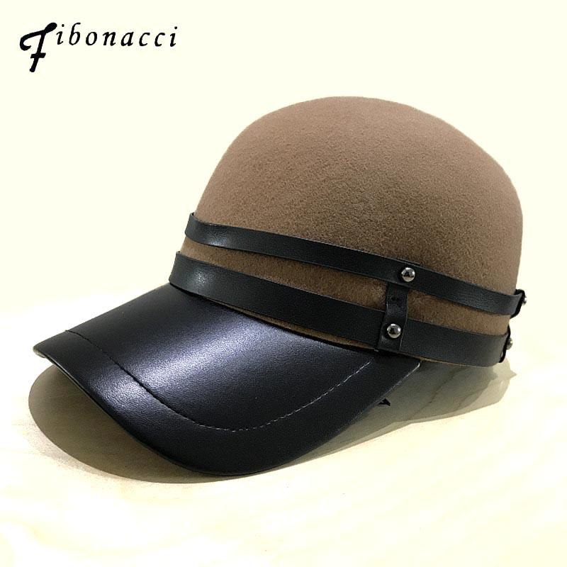 805a3e61867 Fibonacci 2018 New Trendy Luxury Women Baseball Cap Wool Felt Faux Leather  Patchwork Design Snapback Autumn Winter Hat Cap Ball Cap Wholesale Hats  From ...