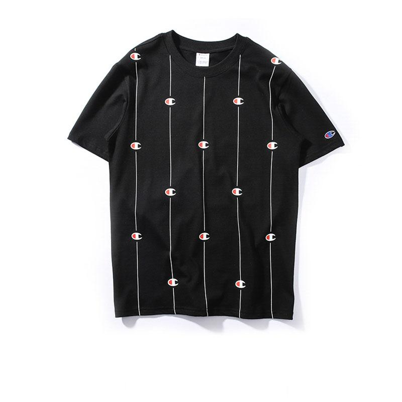 8ba28f7e66 New Tide Brand Champ String LOGO Casual O-neck T-Shirt Fashion Short Sleeve  Cotton Breathable Shirt Top Tees Champ Logo T-Shirt Letter Printed T-shirt  Hip ...