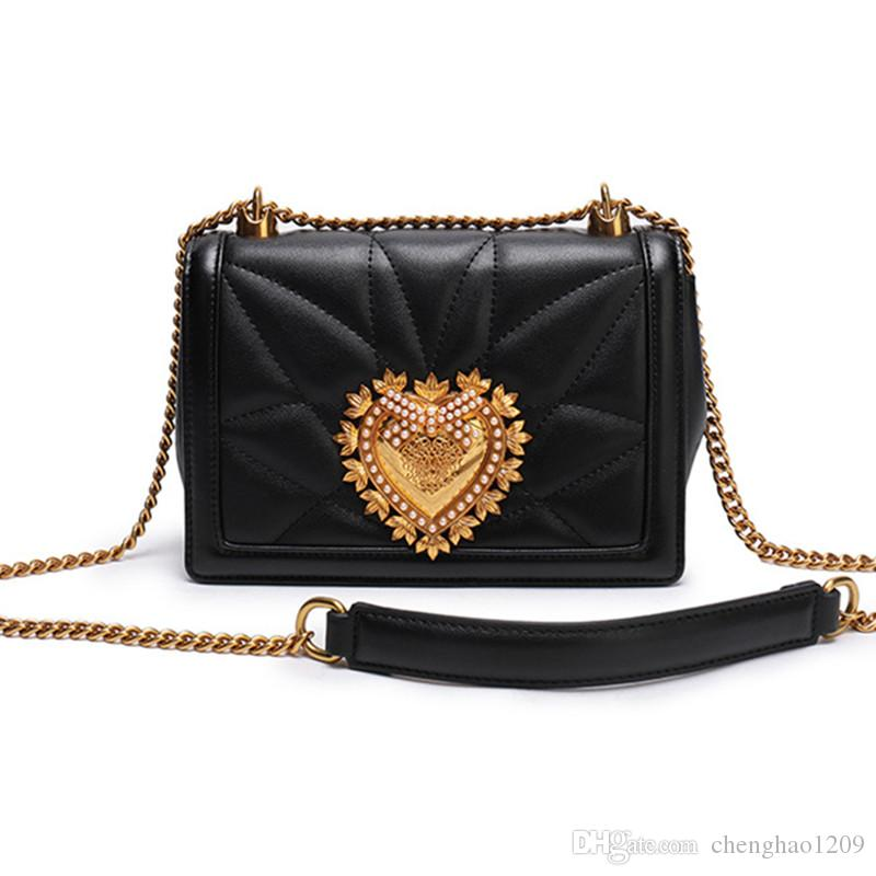 Fashion Women Handbags Genuine Leather Love Pearl Chains Hand Bag Flap  Shoulder Messenger Crossbody Cow Leather Black Bags Party B2870 Designer  Purses ... c0929e529602