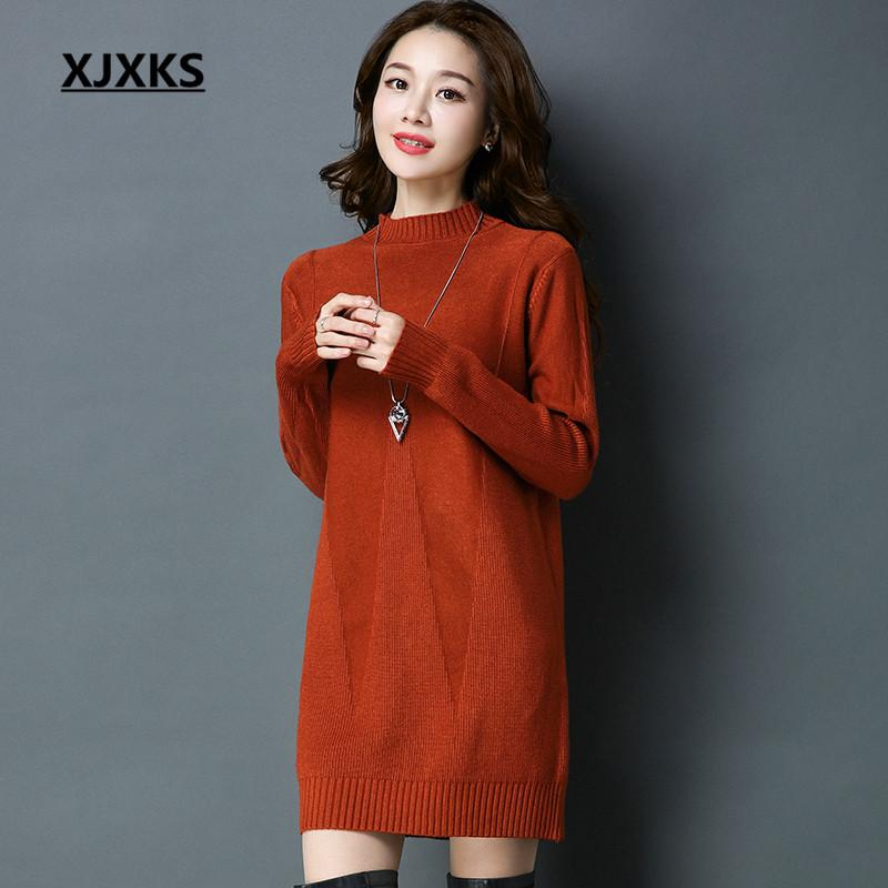 2018 Xjxks Autumn 2018 Winter Clothes Women Sweater Dress Feminino Loose Long  Sleeve Jumper Knitting Quick Shipment From Hongzhang 7345f79c5