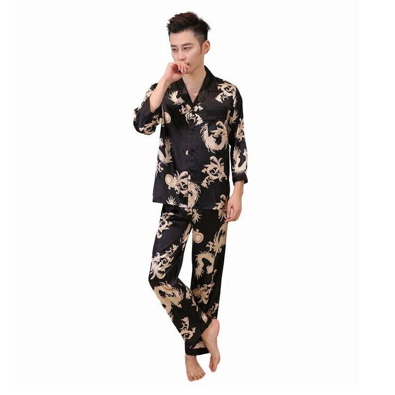 2019 Casual Sleepwear Chinese Style Print Dragon Pyjamas Set Men Long  Sleeve Shirt Pant Pajamas Rayon Bathrobe L XL XXL From Yujian18 f2202f146