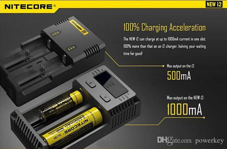 100% Authentic Nitecore NEW I2 Intellicharger Universal 1500mAh Max Output e cig Chargers for 18650 18350 26650 10440 14500 Battery100% Orig