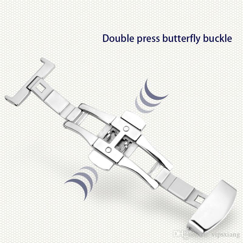 moda slub en relieve Reloj banda correa pulsador oculto cierre doble presión mariposa hebilla cuero negro marrón cierre de acero 12mm ~ 24mm