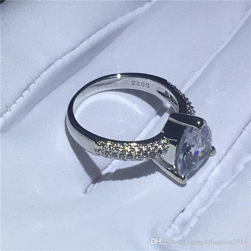 Fashion Heart Shape ring 925 Sterling silver 3t 5A Cz Stone Engagement wedding band ring for women Bridal Jewelry