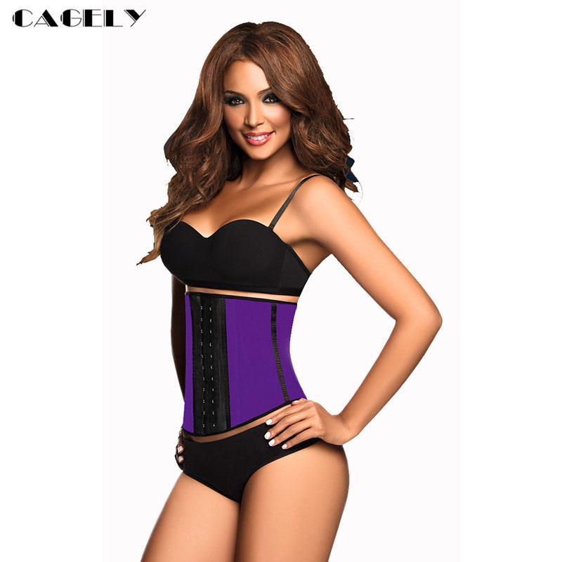 Purple Latex Corset Waist Trainer Cincher Workout Body Shaper Hook&Eyes Latex Waspie Basque Sexy Sporting Shapewear