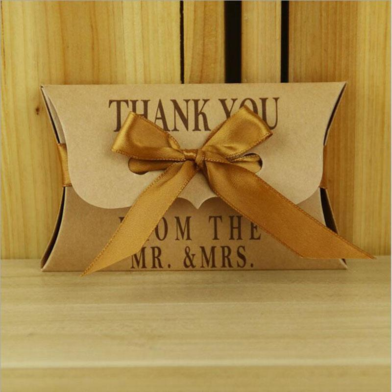Kraft Candy Boxes With Pillow Shaped For Wedding Party Baby Shower