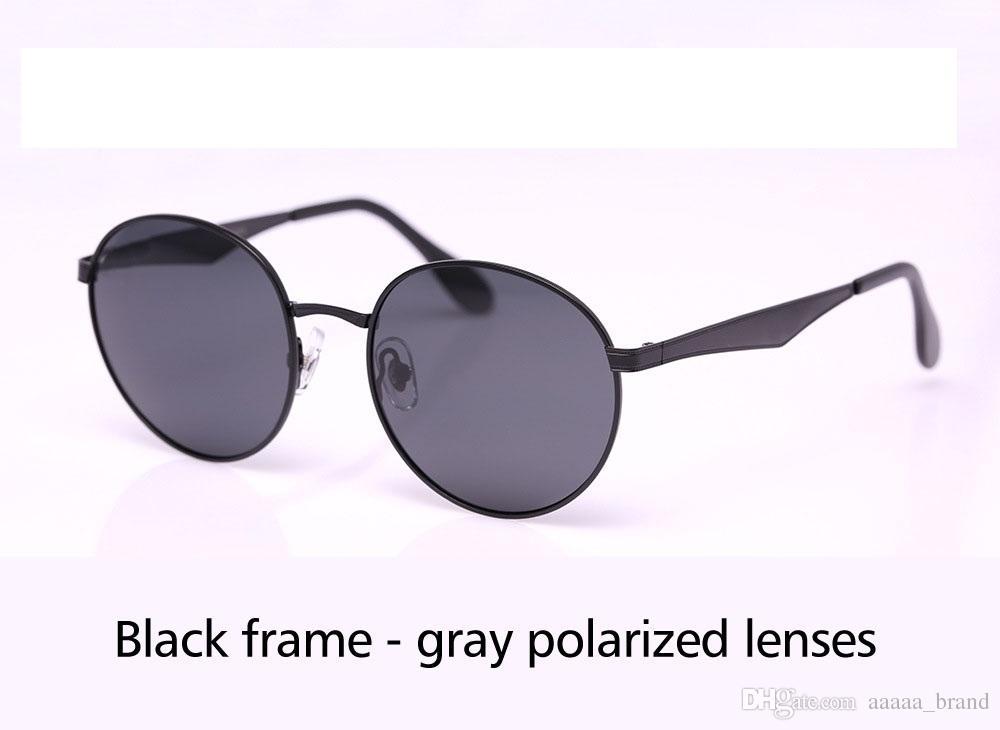 9 couleurs de haute qualité Lunettes de soleil rondes polarisées Hommes Femmes Marque Designer Lunettes de soleil Cadre en métal Polaroid Lentille avec boîte de vente au détail et étiquette