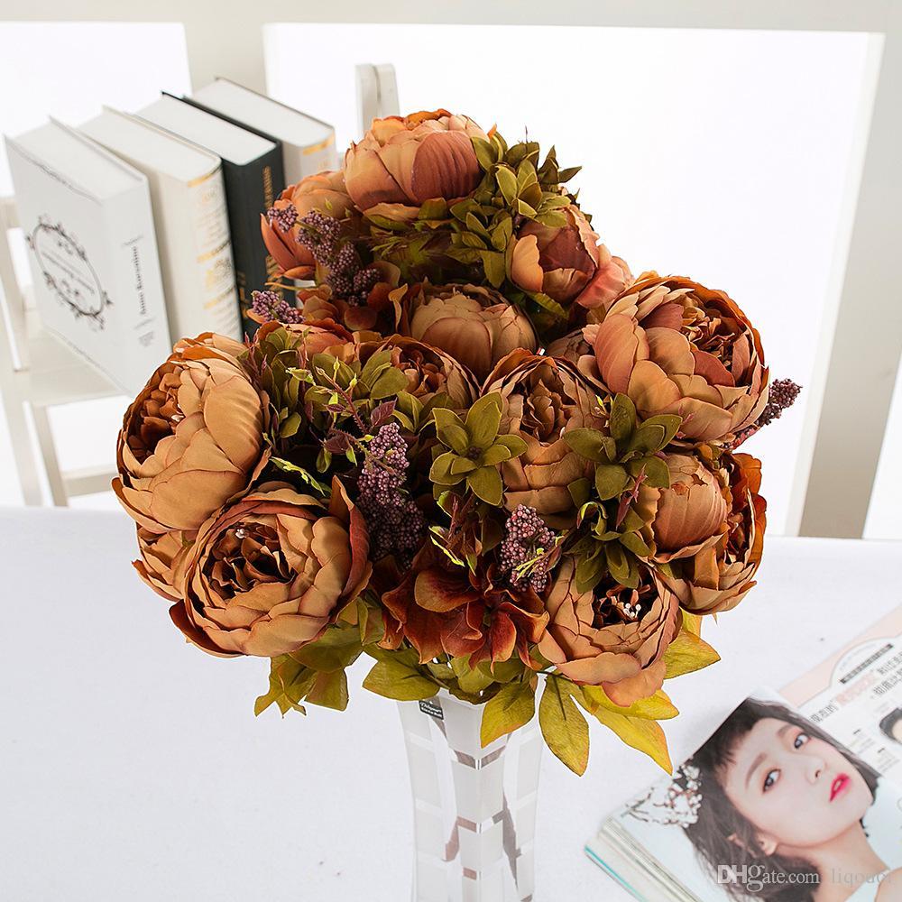 Flor De Seda Europeu 1 Bouquet Flores Artificiais Caem Vivid Peônia Folha Falso Casamento Casa Decoração Do Partido