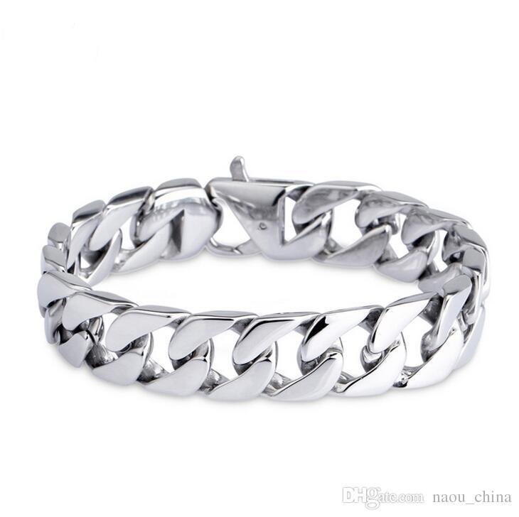 15mm Punk 316L Stainless Steel Men's Bracelet Silver Color Round Curb Cuban Chain Bracelet Bangle Jewelry For Men Women 19cm 20cm 21cm 22cm