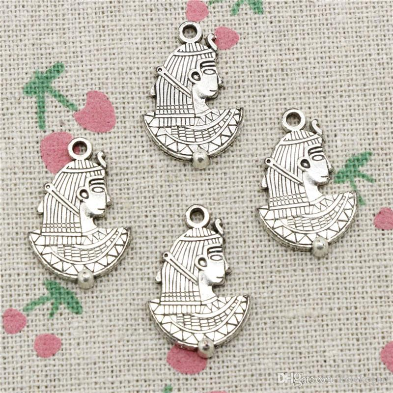 59pcs Charms egypt cleopatra 24*16mm Tibetan Silver Vintage Pendants For Jewelry Making DIY Bracelet Necklace