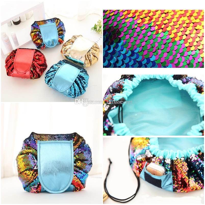 Mermaid Sequin Vely Magic Travel Pouch Bag Glitter Sequin Cosmetic Womens Makeup Bag Organizer Storage Drawstring Bags Free Dropshipping