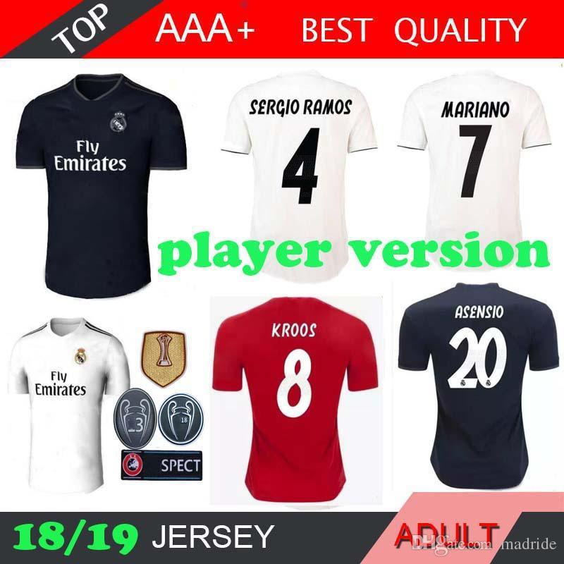 4e82187f133c1 Real Madrid Jugador Versión MARIANO HOME Lejos Negro Fútbol Jersey 18 19  3RD Camiseta De Fútbol 2018 2019 Ronaldo BModric KROOS ISCO ASENSIO BALE  Por ...