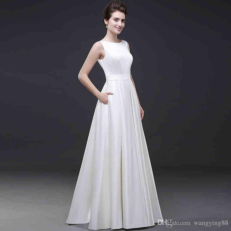 Long Satin Modest White wedding Dress Sleeveless A Line Women Formal Wedding Gowns Without Tail Lace-up Closure