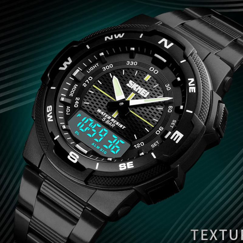 Watches Digital Watches New Men Watches Fashion Binary Led Digital Watch Men Sports Watches Stainless Steel Mesh Band Electronic Watches Reloj Hombre