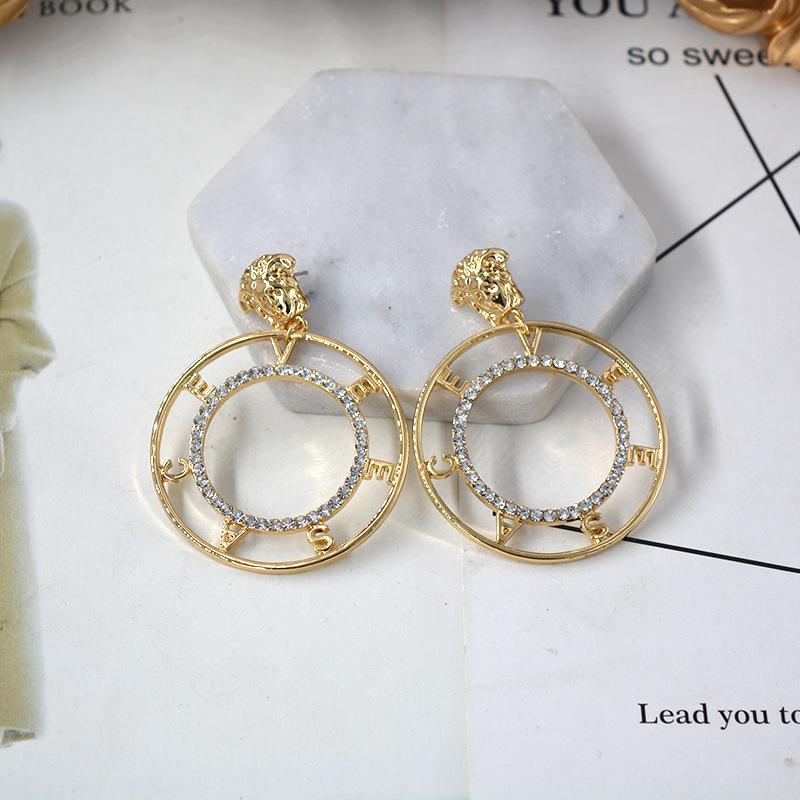 Gold Silver Plated Lion head Earring fashion crystal Round Medusa Stud For Women Girl Heart Hollow Wing Stud