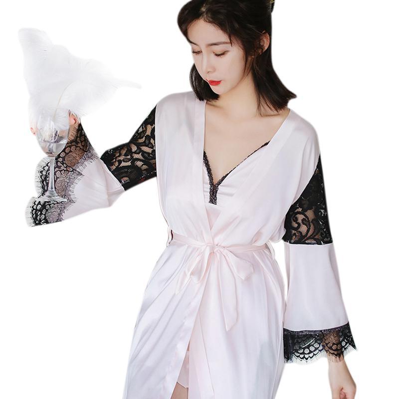 91459ef8d Compre Senhoras Pijama De Duas Peças Pijama Robe Outono Inverno Sexy  Vestido Personalidade Design De Renda Manga Longa De Seda Noite Crescido De  Piaose