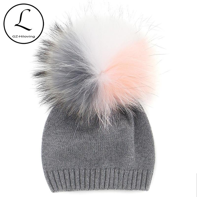 9b347dbbd0b GZHILOVINGL 2017 New Winter Children Toddler Kids Boys Girls Cotton Crochet  Knitted Beanies Skullies Caps With Fur Multi Pompom S925 Beanie Caps  Slouchy ...