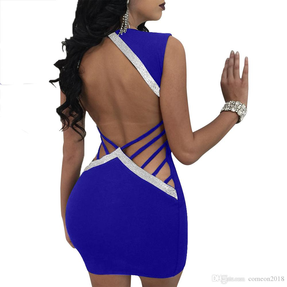 Women Clothes Sexy Hollow Out Night Club Bodycon Dresses Slim Deep V Neck  Backless Sequined Patchwork Mini Dress Femme Bodycon Vestidos Long Dresses  For ... aa913cba597a
