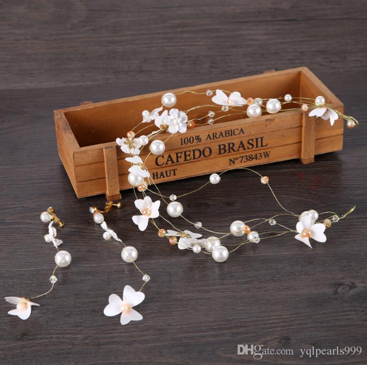 Boncuklu saç aksesuarları ile gelinlik ve düğün şapkaları için yeni küpeler