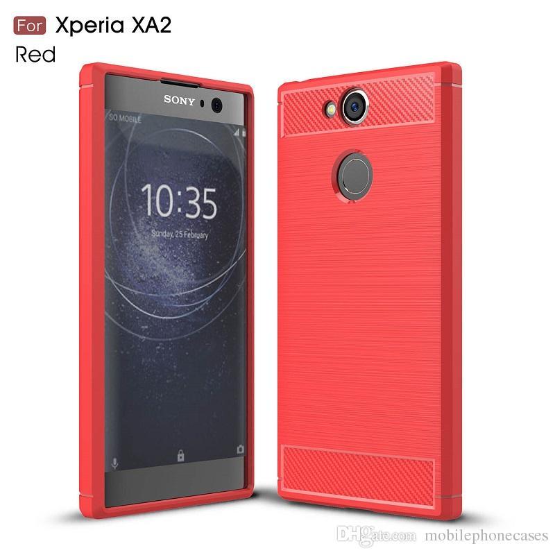 Мобильный телефон случаях для Sony Xperia XA2 ТПУ углеродного волокна сверхмощный чехол для Sony XA2 ультра крышка бесплатная доставка DHL