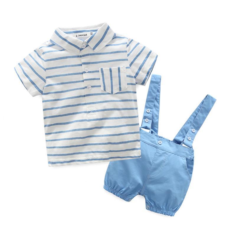 77d5f0a278 Compre Kimocat Bebê Meninos Conjuntos De Roupas Infantis Listra Azul T  Shirt + Curto Macacão 3 Pçs   Set Recém Nascidos Little Kids Roupas De Bebê  De ...