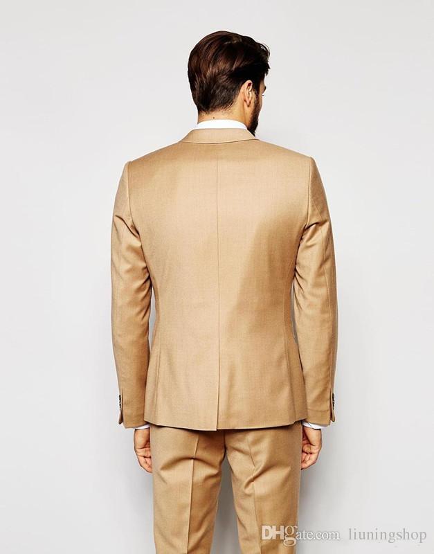 Abiti da cerimonia matrimoni dorati da uomo Slim Fit Abiti da uomo Smoking da sposo Abiti da ballo convenzionali su misura giacca + pantaloni + vest + cravatta