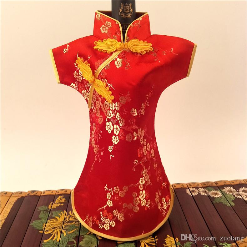f35c6c219 2019 Chinese Cheongsam Wedding Wine Bottle Cover Bag Table Decoration Silk  Brocade Wine Bottle Clothes Packaging Pouch Fit 750ml From Zuotang, ...