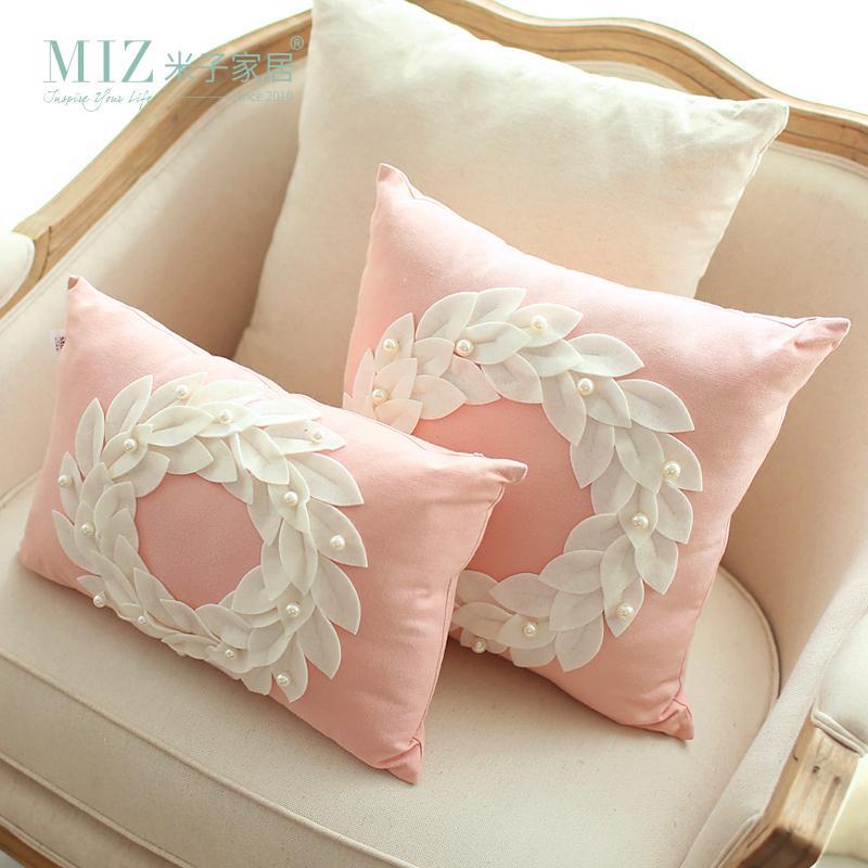 Free Shipping Miz Home 45*45cm Original Europe Style Modern Light Pink  Decorative Pillow Cushion Flower Snow Shape Good Quality