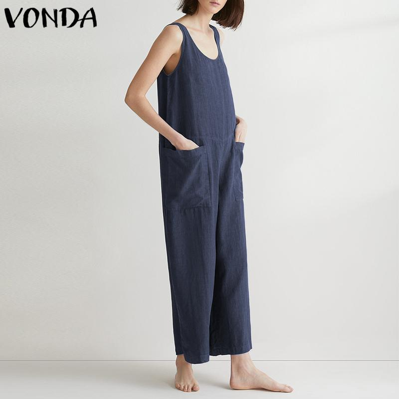 545d04dea0b 2019 VONDA Rompers Womens Jumpsuit 2018 Summer Cotton Wide Leg Pants Casual  Loose Solid Trousers Sexy Sleeveless Plus Size Overalls From Stripe