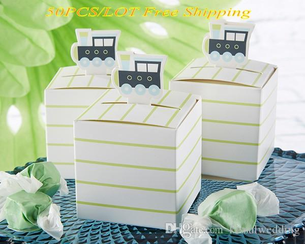 50 Pieces Lot Unique Baby Gift Box Of Precious Cargo Train Baby Birthday Party Decoration Favor Box For Baby Shower Favors