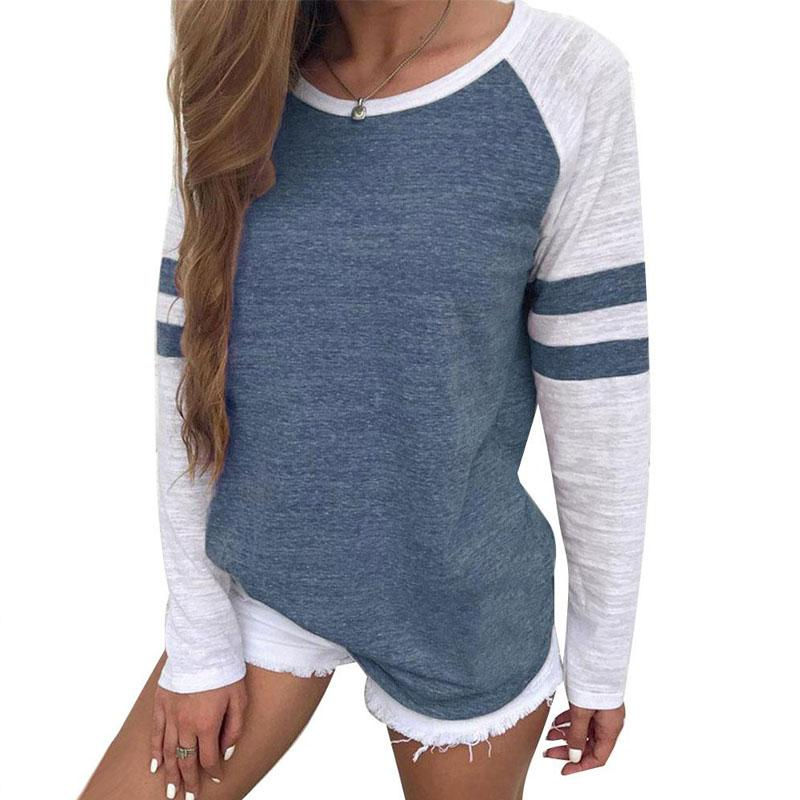 c9709ce50eed New Arrivals Red White Stripe Patchwork Casual Women Tops Tees Long Sleeve  Vintage Simple Style O Neck T Shirt Ladies Solid Funny T Shirt Awesome T  Shirts ...