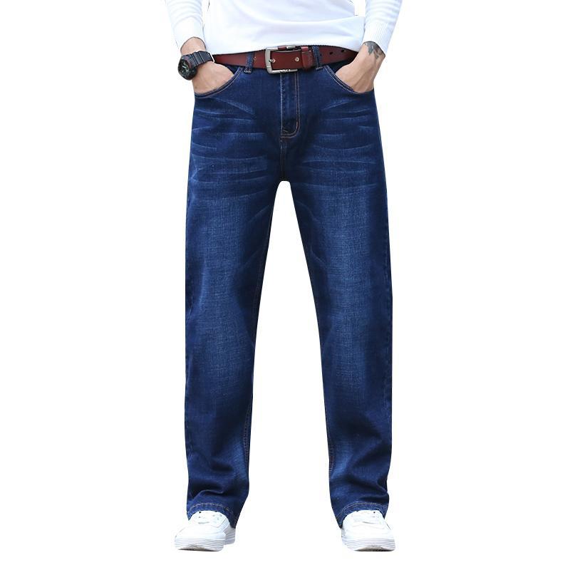 ad72323c4b Compre Hombres Tallas Grandes 30 44 Big Dark Blue Relax Pantalones Vaqueros  Cintura Elástica Pantalones Vaqueros Altos Y Anchos Casual Stretch Jeans  LOOSE ...