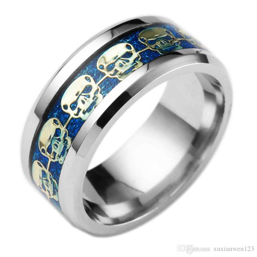 Mens Jewelry Never Fade Stainless Steel Skull Ring Gold Filled Blue Black Skeleton Pattern Man Biker Rings for Men Gift