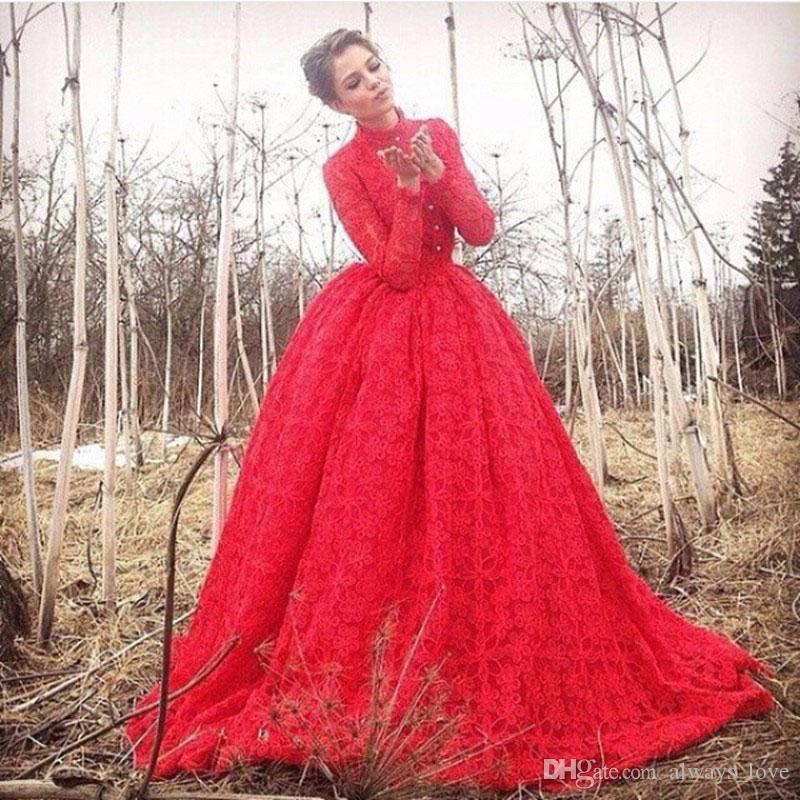 Long Sleeve Red Ball Gowns Evening Dress Lace Prom Dress Formal Engagement Gown Plus Size robe de soire vestido de festa longo