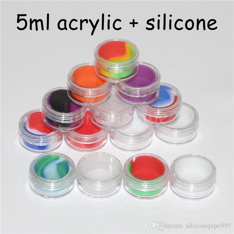 Yüksek kaliteli renkli 5 ml plastik konteyner eklemek sağlıklı balmumu küçük şeffaf konteynerler kapaklı silikon kavanoz dab balmumu konteyner