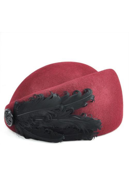 NEW Ladies Wool Autumn Winter Beret Small Feather Beret Hat Red Wine Berets  Cheap Berets NEW Ladies Wool Autumn Winter Beret Online with  26.35 Piece  on ... 431dcfbdc67b