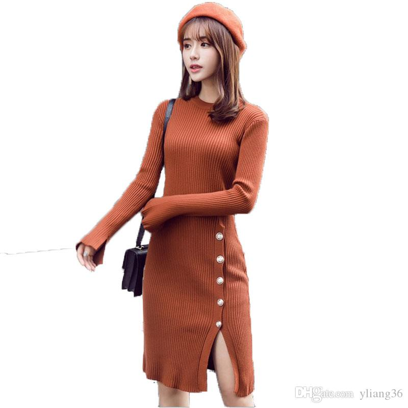 e4b94535d90 Winter Women Knitted Dresses Pure Color Long Sleeve O Neck Casual Slim Warm  Bodycon Sweater Dress Plus Size Long Dress With Button Dresses For Women  Lace ...