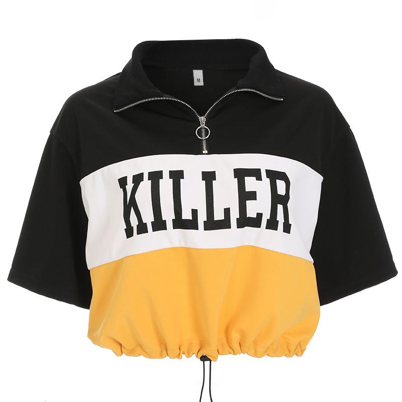 Hottest Selling Print Twilled Satin Korean Harajuku T-shirt Drawstring Turn-down Collar Zipper Tee Crop Tops Punk Style T-shirt