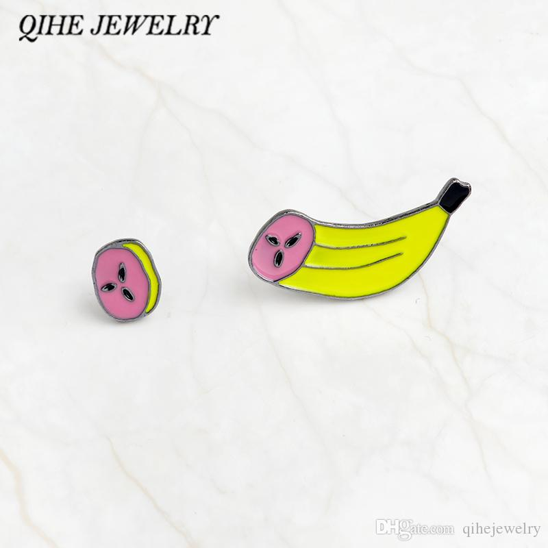 QIHE JEWELRY 2pcs/set Banana & banana slice pin set Hard enamel pin  Backpack Hat Tote bag Accessories Cute Kawaii jewelry
