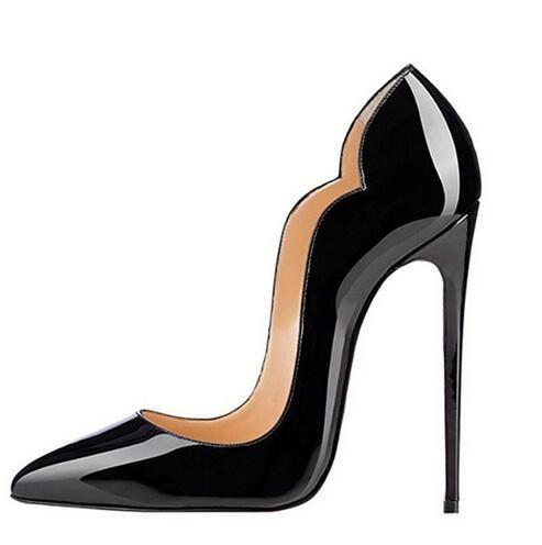 Großhandel Sexy High Heels Spitz Pumps Schwarz Büro Schuhe Frauen 120 MM  Party Schuhe Mode Stiletto High Heel Pump Lackleder Schuh Von Vogue shoes,  ... 4c57f9a042