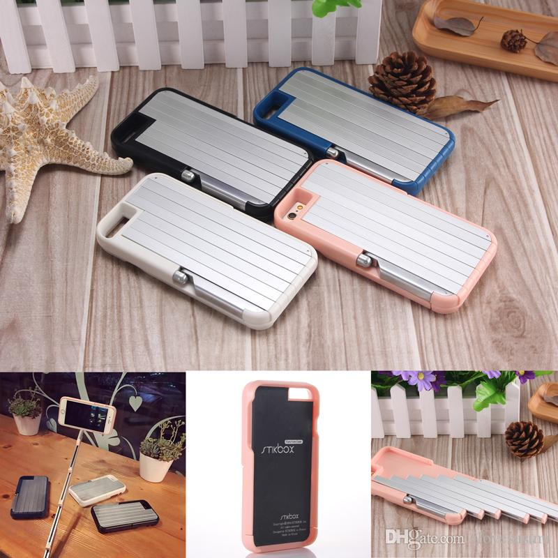 best service 0d064 54484 2 In 1 Stikbox Selfie Stick Phone Case Bluetooth Remote Shutter Cases Stand  Holder Back Cover for IPhone 6 6s 7 8 Plus
