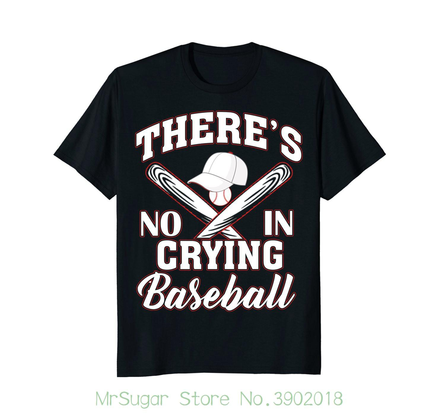 127789e28 There's No Crying In Baseball T-shirt Gift Tshirt Men Black Short Sleeve  Cotton Hip Hop T-shirt Print Tee Shirts