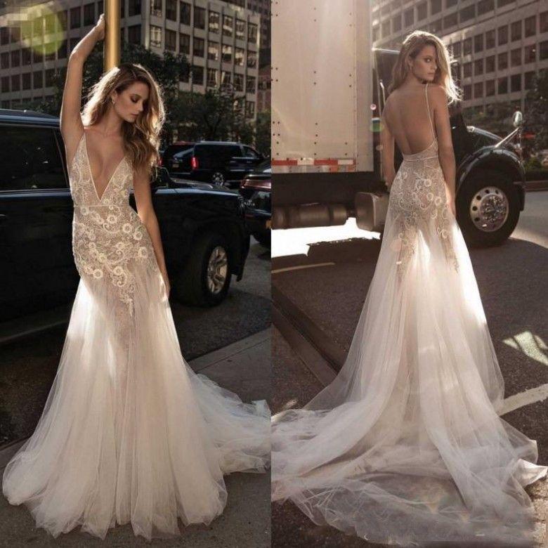 Berta Bridal 2018 Mermaid Wedding Dresses Deep V Neck Trumpet Sweep ...