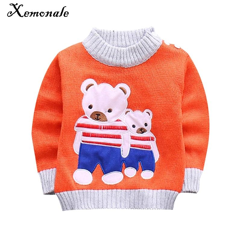 Xemonale baby girls boys autumn/winter wear warm cartoon sweaters pullovers outerwear Bear sweater for Newborn