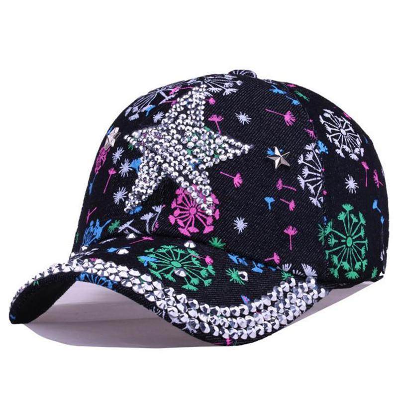 a5e32821bc4cc Compre Top Quality Pintura Diamante Chapéus Para As Mulheres De Algodão  Snapback Cap Bonés De Beisebol Das Mulheres Chapeu Feminino Moda Feminina  Ao Ar ...