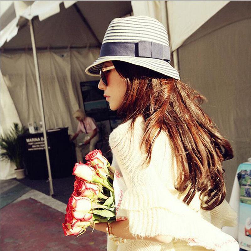 f2de80e4899 Fashion Summer Women S Sun Hats Panama Cap Choke Mouth Small Pepper Straw Hat  Blue And White Striped Visor Beach Hat Stetson Easter Hats Fur Hats From ...